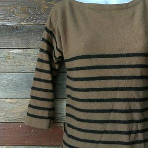 Zara Knit wool tan and black sweater dress